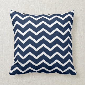 Navy Pillow in Classic Chevron