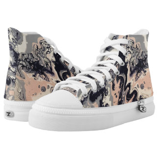 "Navy & Pink Abstract High Tops - ""Cha Cha"""