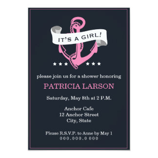 Navy Pink Anchor It's a Girl Baby Shower Invite