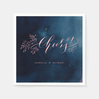 Navy pink calligraphy cheers rustic floral wedding disposable napkin