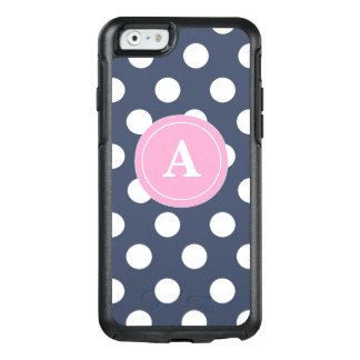 Navy Pink Dots Personalized OtterBox iPhone 6/6s Case