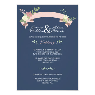 NAVY PINK FLORAL BANNER WEDDING INVITATION