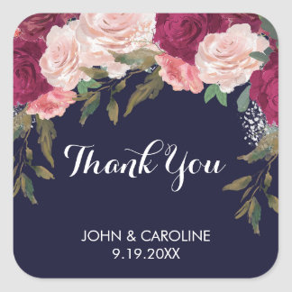 Navy pink floral thank you favors stickers wedding
