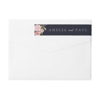 Navy Pink Floral Watercolor Wedding Envelope Label Wraparound Return Address Label