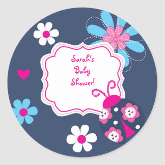 Navy Pink Lady Bug Baby Personalized Envelope Seal