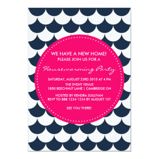 Navy & Pink Nautical Housewarming Party Invitation