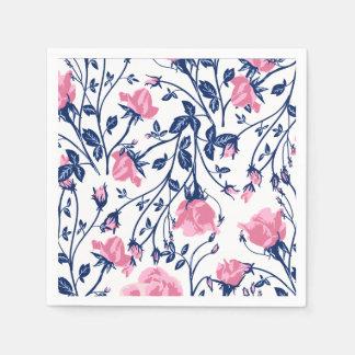 Navy & Pink Rose Floral Flower Print Disposable Napkin