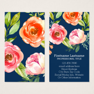 Navy Pink Watercolor Flowers with Name and Photo Business Card
