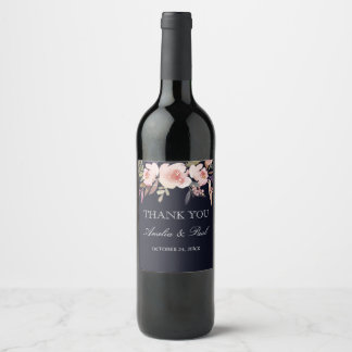Navy Pink Watercolor Peonies Wedding Wine Label