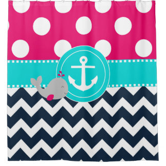 Navy Pink Whale Anchor Shower Curtain
