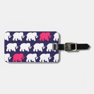 Navy, Pink & white elephants design Luggage Tag