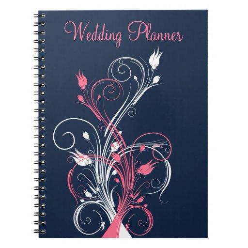 Navy Pink White Floral Wedding Planner Notebook
