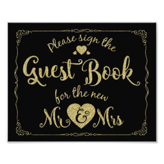 navy Please sign our guest book sign gold Photo Art