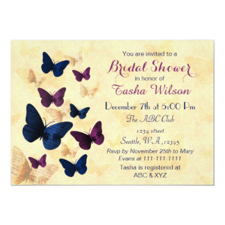 Navy Plum Butterflies Rustic brida shower invites