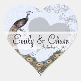 Navy Plum Peacock Feathers Wedding Sticker