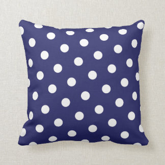 Navy Polka Dot Cushion