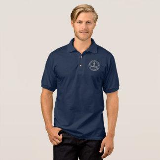 Navy polo with grey logo