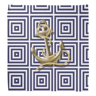 navy preppy pattern nautical anchor bandana