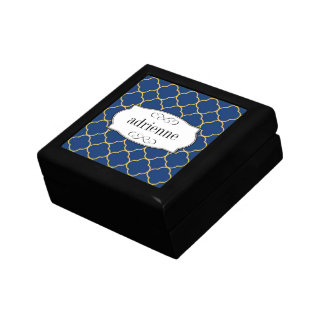 Navy quatrefoil clover leaf pattern personalized small square gift box