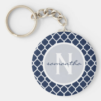 Navy Quatrefoil Monogram Key Ring