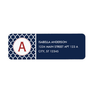 Navy Quatrefoil Monogram Return Address Label
