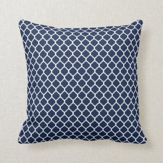 Navy Quatrefoil Throw Pillow