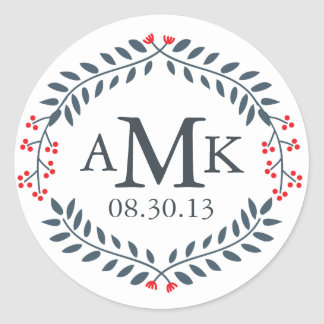 Navy & Red Floral Monogram Stickers