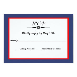 Navy & Red  Frame- RSVP Response Card