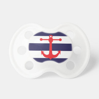 Navy & Red Nautical Pattern Baby Pacifiers