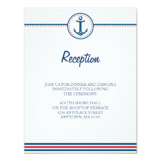 Navy/Red Nautical Theme Wedding Info Card