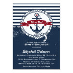 Navy & Red Rustic Nautical Baby Shower Invitation