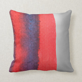 Navy Red Stipes Minimal Abstract Aquarelle Silver Cushion