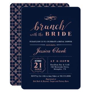 Navy Rose Gold Wedding Bridal Brunch Invitation