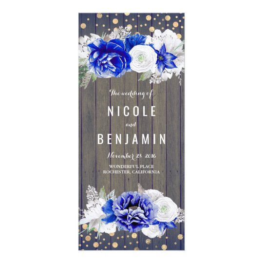 Navy Rustic Floral Wedding Programs Rack Card
