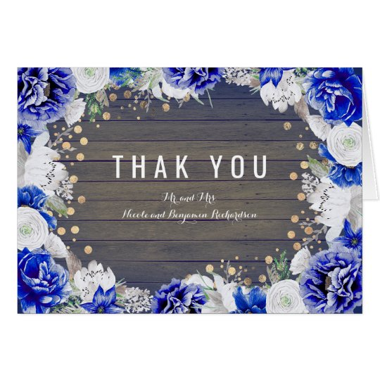 Navy Rustic Floral Wedding Thank You Card