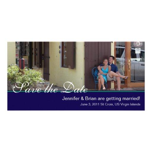 Navy Save the Date Photocard Custom Photo Card