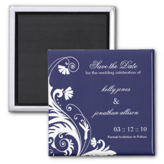 Navy Save the Date Wedding Magnet