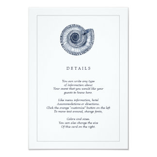 Navy Sea Shell Beach Wedding Information Card Invite