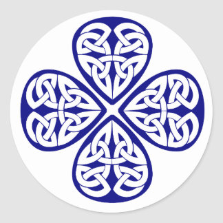 navy shamrock celtic knot classic round sticker