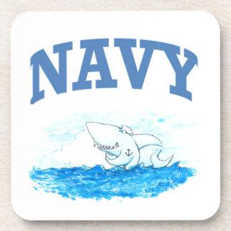 Navy Shark Beverage Coaster
