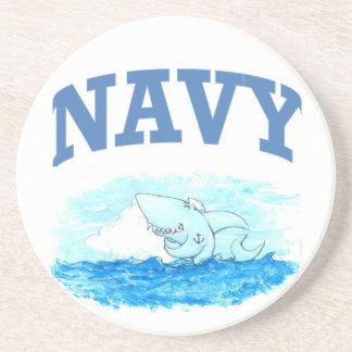 Navy Shark Drink Coaster