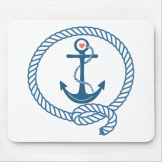 Navy Ship Anchor with Pink Heart Mouse Pads