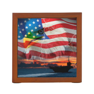 Navy ship sailing into the sunset desk organiser