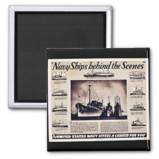 Navy Ships Behind The Scenes Square Magnet