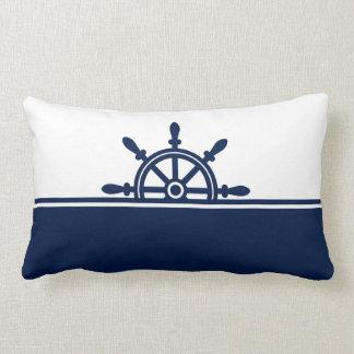 Navy Ship's Wheel Nautical Lumbar Pillow
