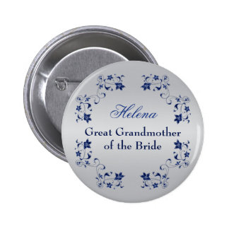 Navy Silver Floral Grandmother of the Bride Pin