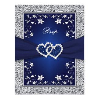 Navy Silver Floral Hearts FAUX Foil Wedding RSVP Custom Invites