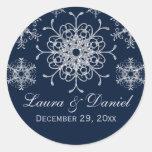 Navy Silver Glitter LOOK Snowflake Wedding Sticker