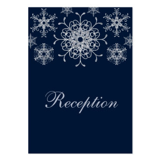 Navy Silver Glitter LOOK Snowflakes Enclosure Card Business Card Templates
