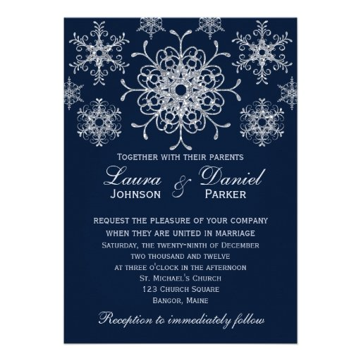Navy Silver Glitter LOOK Snowflakes Wedding Invite
